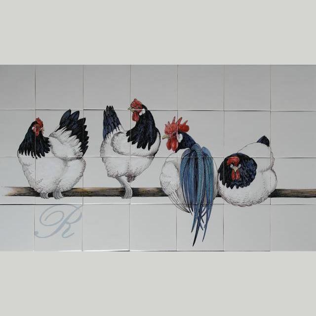 RH28-2, 4 Lakenfelder Hühner