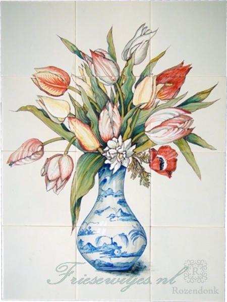 RH12-28 Delfterblaue Vase mit Tulpen