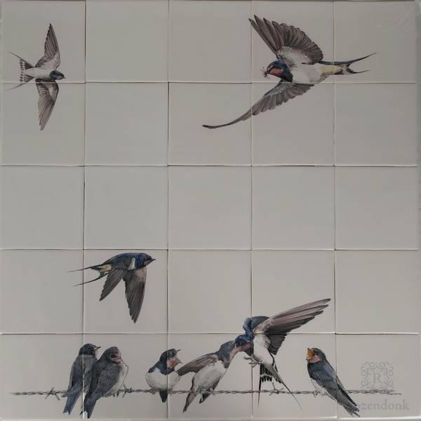 RH25-3 Schwalben auf 5x5 Fliesen gemalt