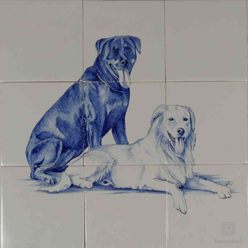 RH9 Hunde gemalt auf Fliesen