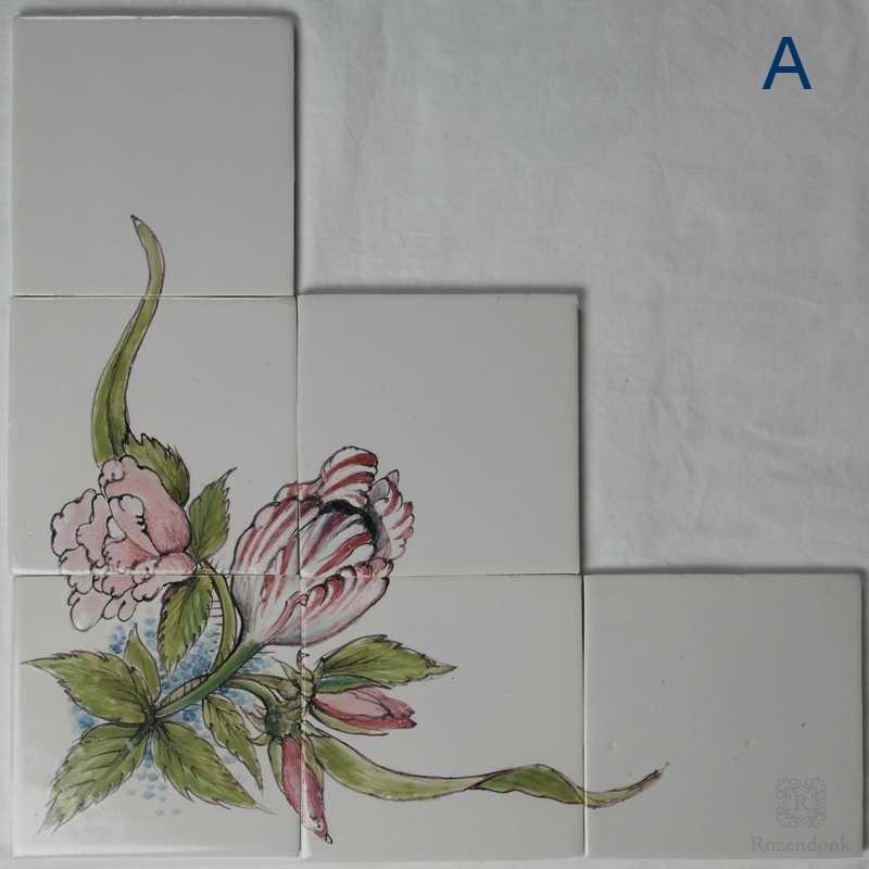 Speziale Blume Dekorationen auf 6 Fliesen
