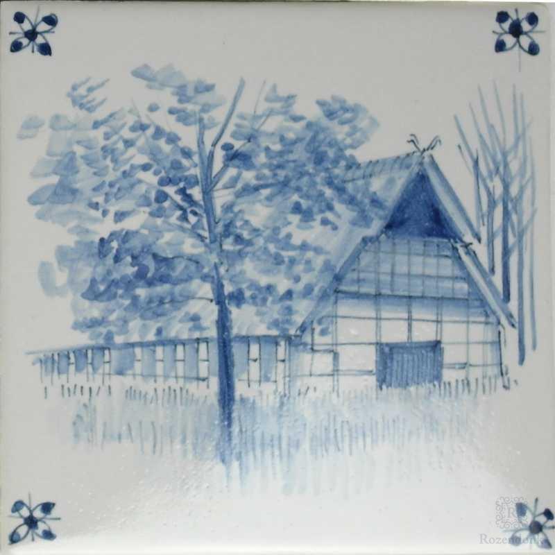 Bauerngut, alle Gebäude Hand gemalt auf unsere Fliesen