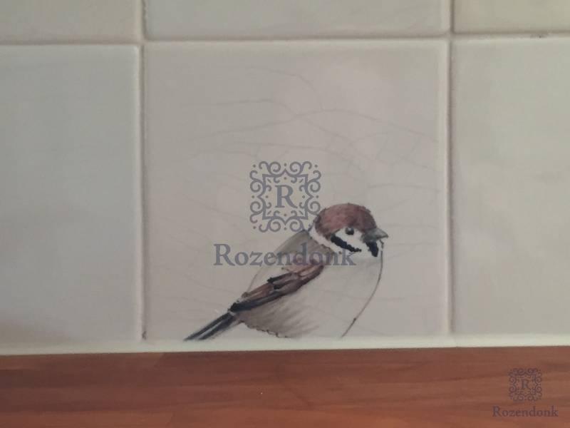 Vogel und Insekten auf Fliesenspiegel im Küche