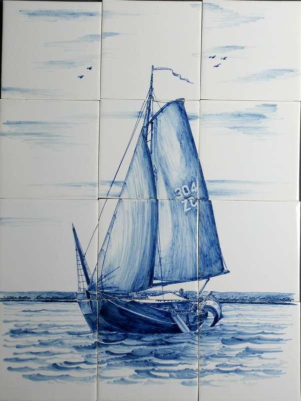 Fliesenspiegel mit altes Segelschiff