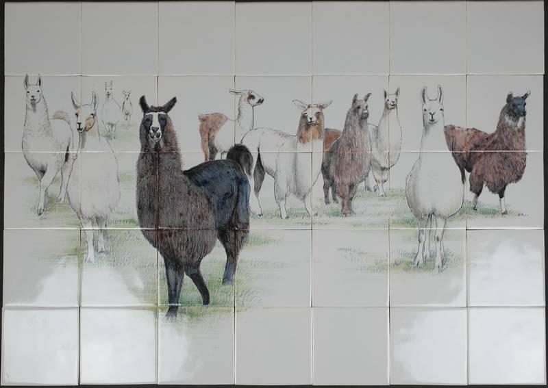 Fliesenspiegel mit Lamas