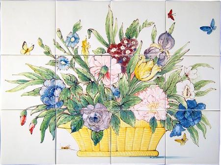 RH12-25 Gelbe Korb mit Blumen