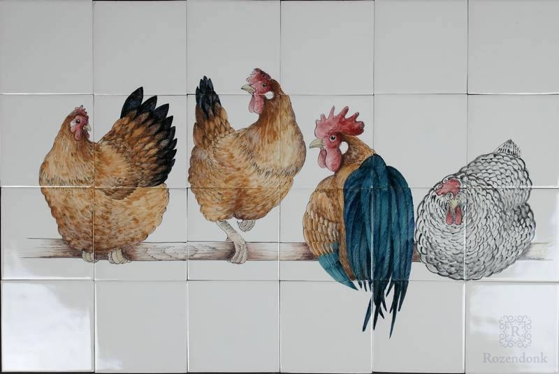 RH28-1, 4 Hühner auf eine Stange