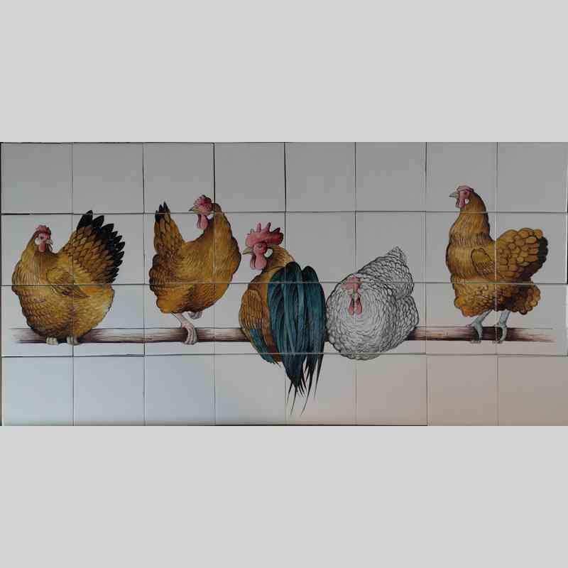 5 Hühner auf Stange