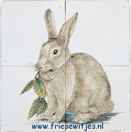 RH4-9, Kaninchen gemalt auf 4 Fliesen