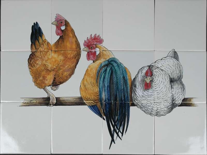 RH12-1, 3 Hühner auf 12 Fliesen