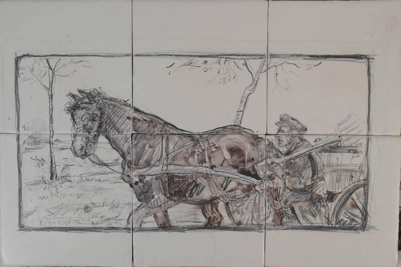 Skizze von Pferd und Bauer