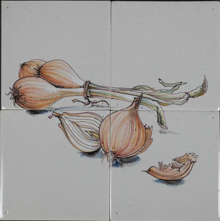 Zwiebeln auf 4 Fliesen