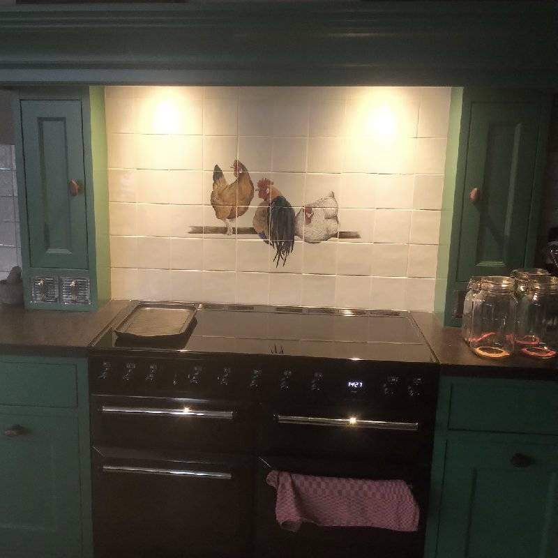 Hühner in eine Grüne Küche
