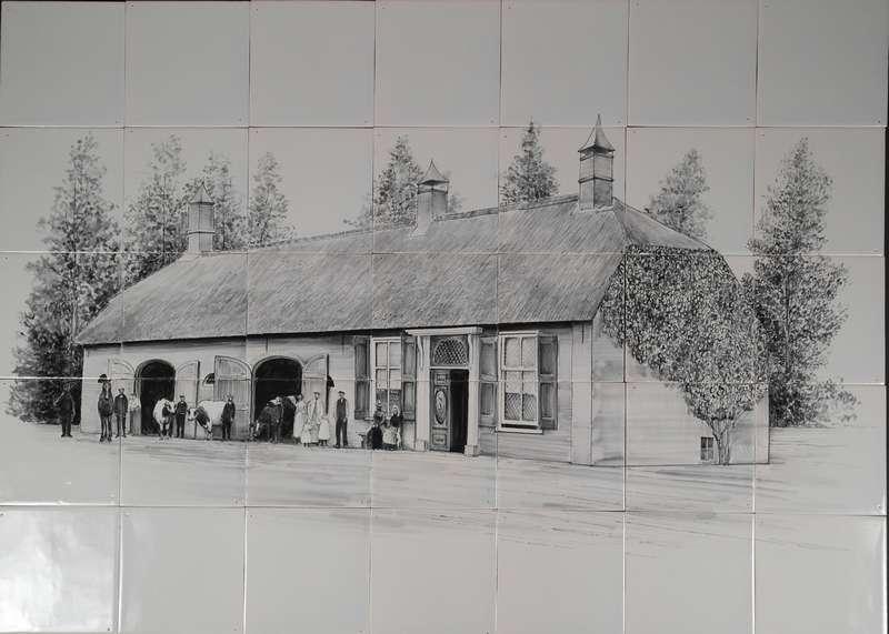 Haus auf Fliesen 35 gemalt