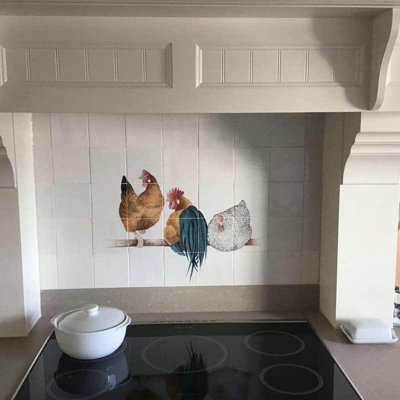 Hühner in eine Weiße Küche